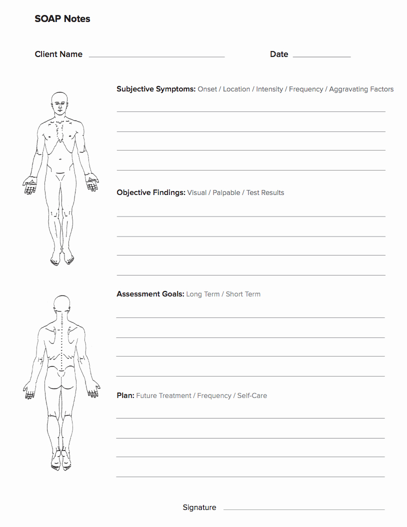 Free therapy Notes Template Beautiful Free Massage soap Notes forms Massagebook