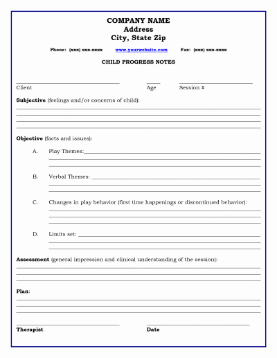 Free therapy Notes Template Elegant therapy Progress Note Template therapy