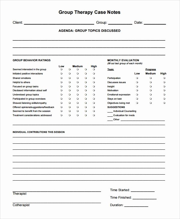 Free therapy Notes Template Fresh Sample therapy Note Template 5 Free Documents Download