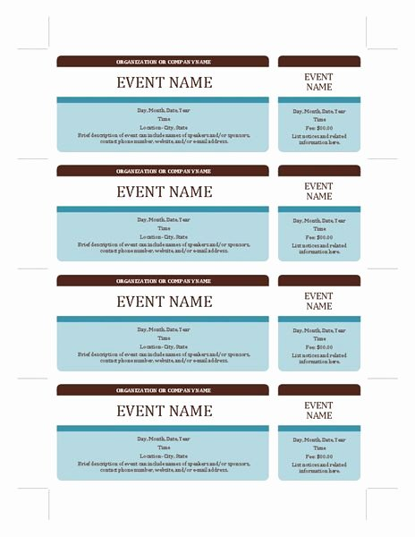 Free Ticket Template Word Best Of event Tickets Templates Fice