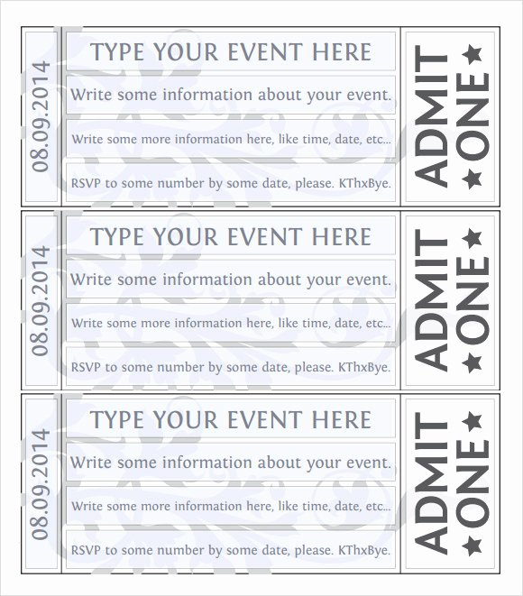 Free Ticket Template Word Unique Free 38 Sample Amazing event Ticket Templates In