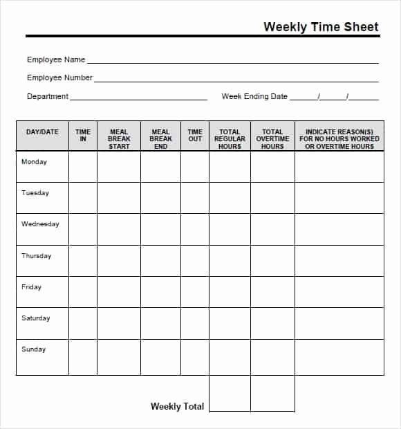 Free Time Card Template Elegant 9 Free Printable Time Cards Templates Excel Templates