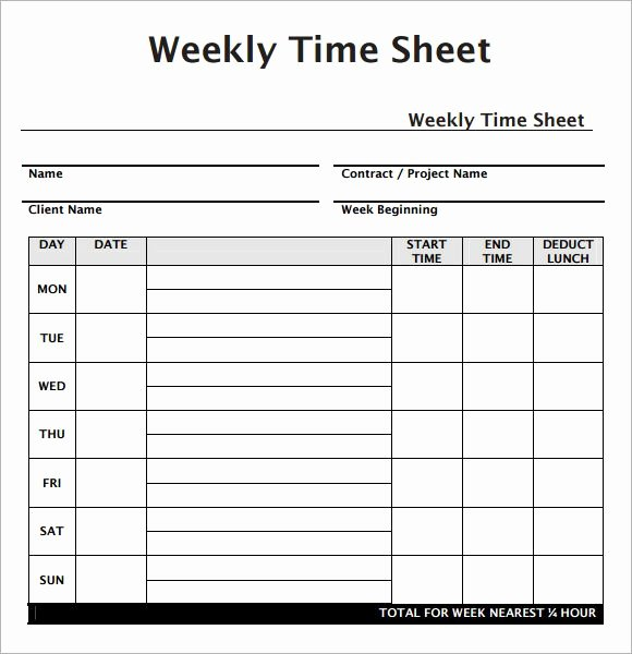 Free Time Card Template Elegant Weekly Employee Timesheet Template Work