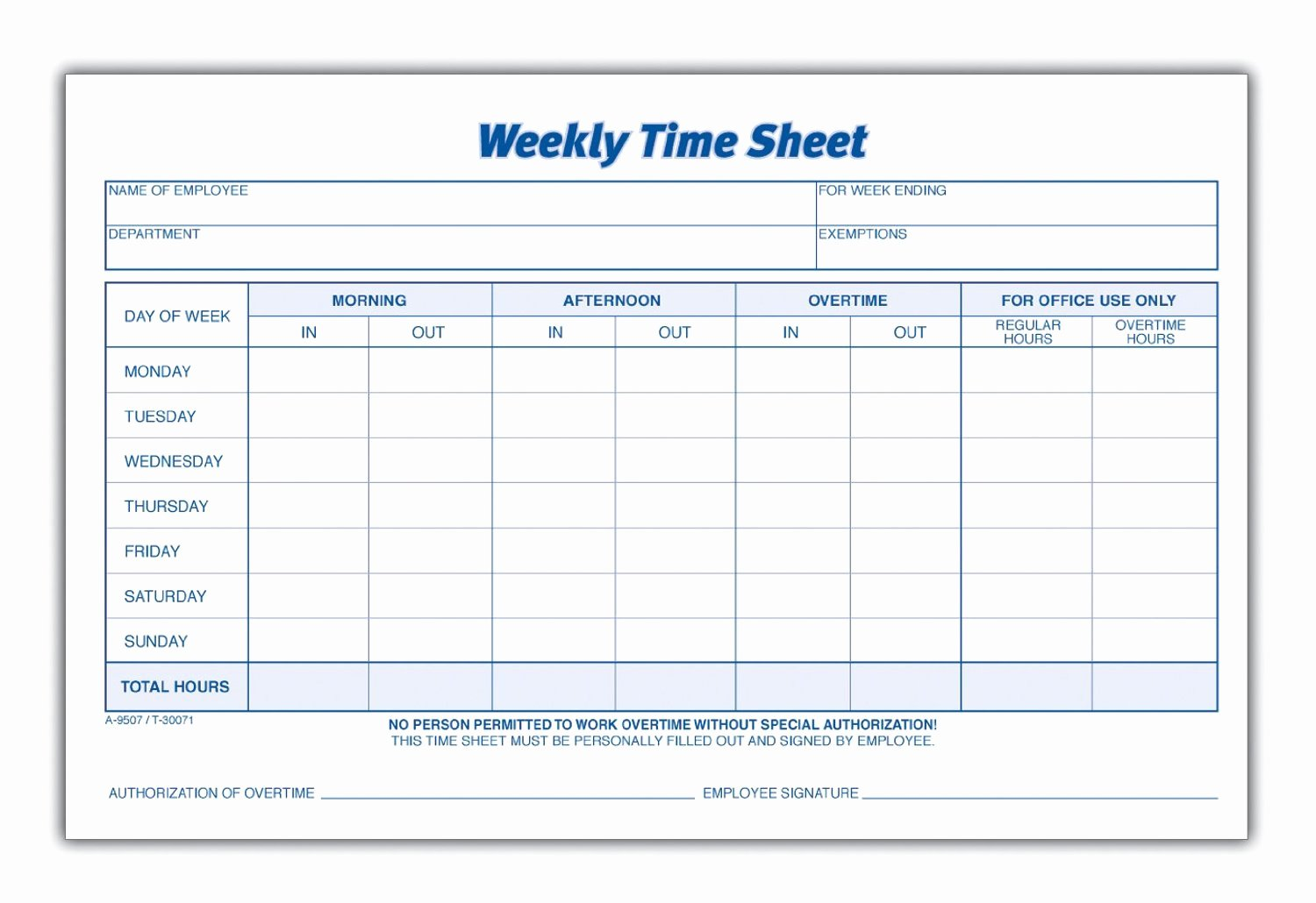 Free Time Card Template Inspirational 8 Best Of Blank Printable Timesheets Free