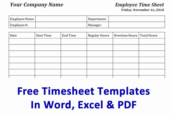Free Time Card Template New Free Timesheet Template & Time Card Template