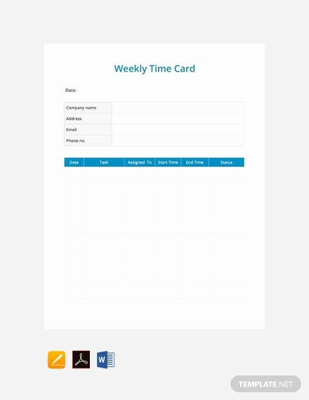 Free Time Card Template New Free Weekly Timesheet Template Download 359 Sheets In