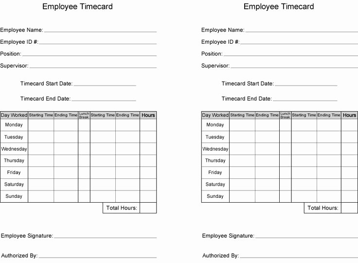 Free Time Card Template Unique Free Time Card Template
