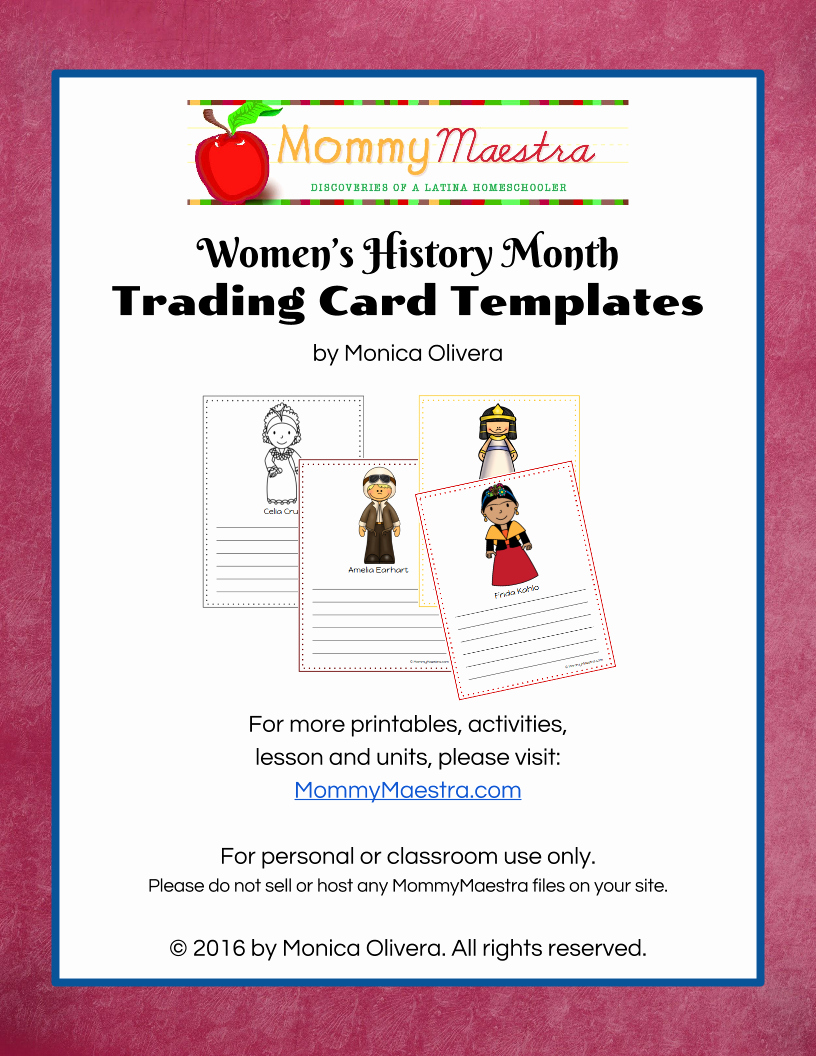 Free Trading Card Template Beautiful Mommy Maestra Free Download Women In World History