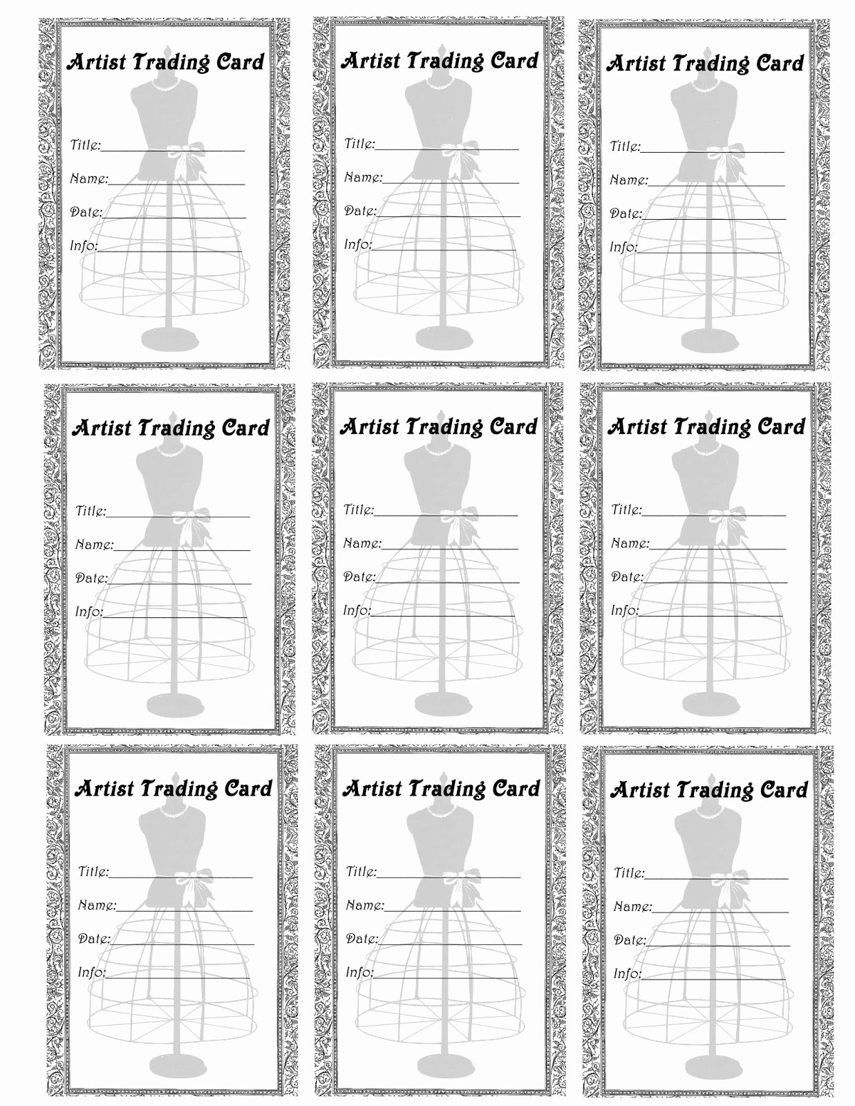 Free Trading Card Template Lovely Free Vintage Digital Stamps Free Printable Artist