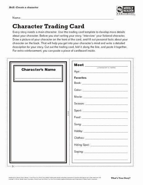 Free Trading Card Template Unique Character Trading Card Lesson Plan for 7th 8th Grade