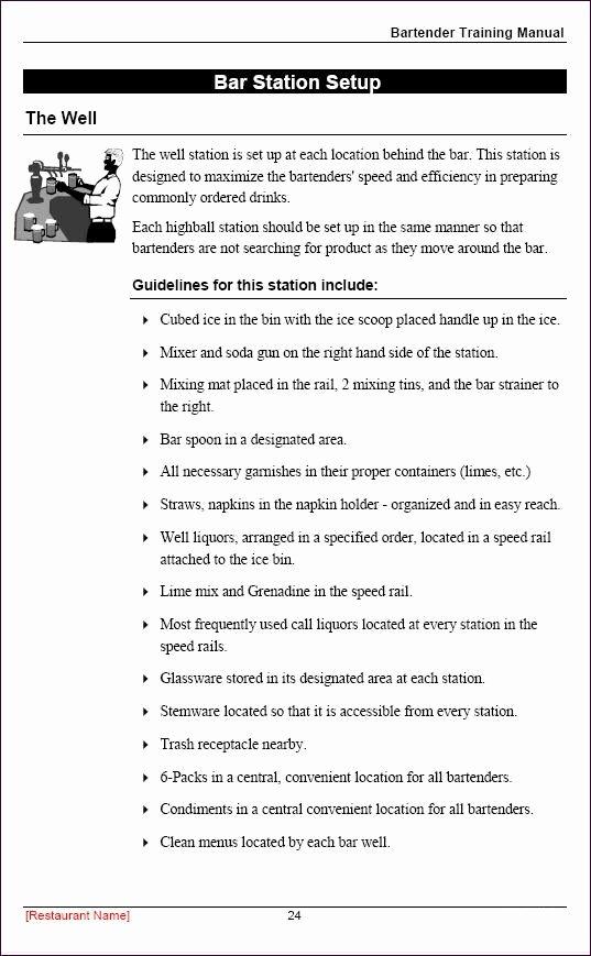 Free Training Manual Template Inspirational Restaurant Employee Training Manual Sample Page