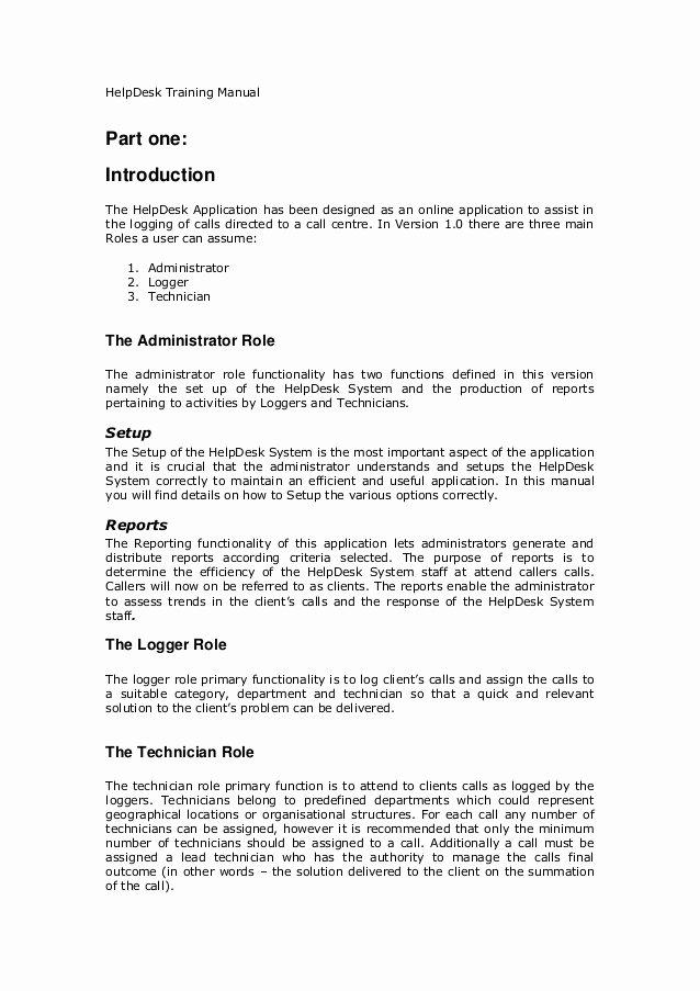 Free Training Manual Template Unique Helpdesk Training Manual