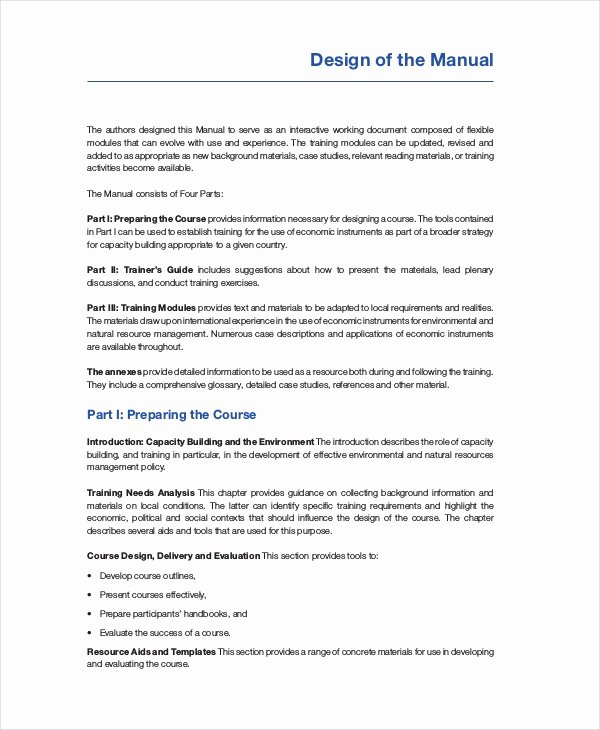 Free Training Manual Template Unique Training Manual Template 7 Free Pdf Word Download