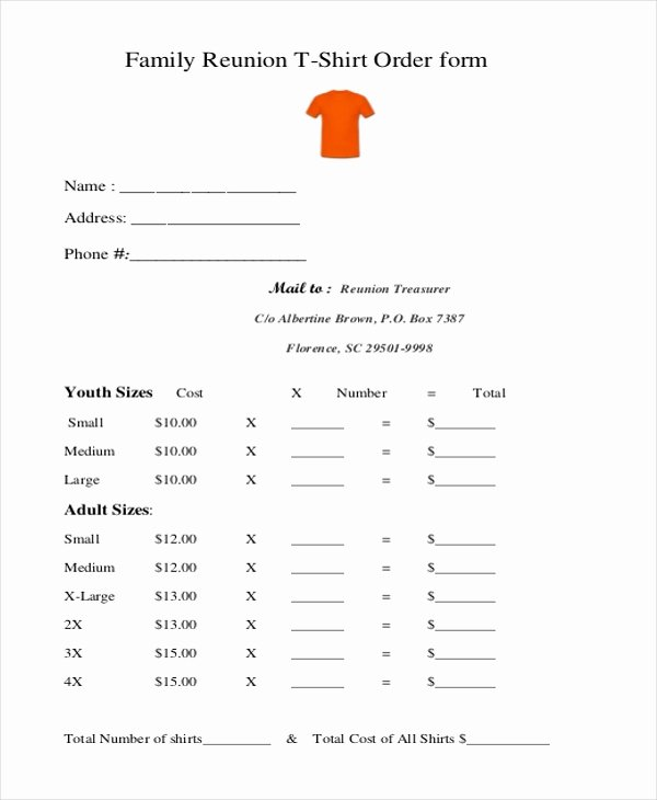 Free Tshirt order form Template Elegant Free 10 Sample T Shirt order forms In Doc