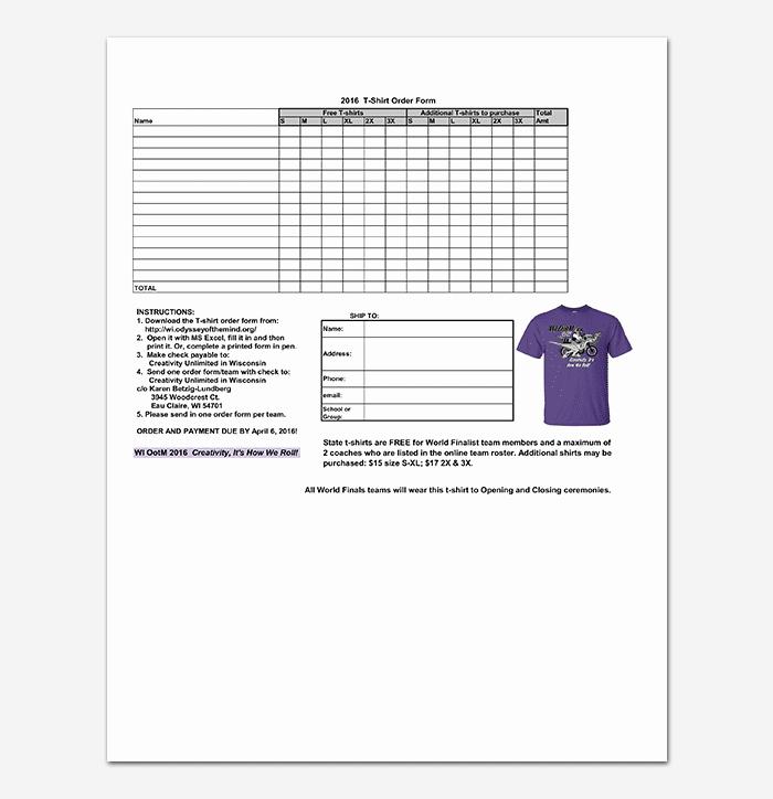 Free Tshirt order form Template Elegant T Shirt order form Template 17 Word Excel Pdf