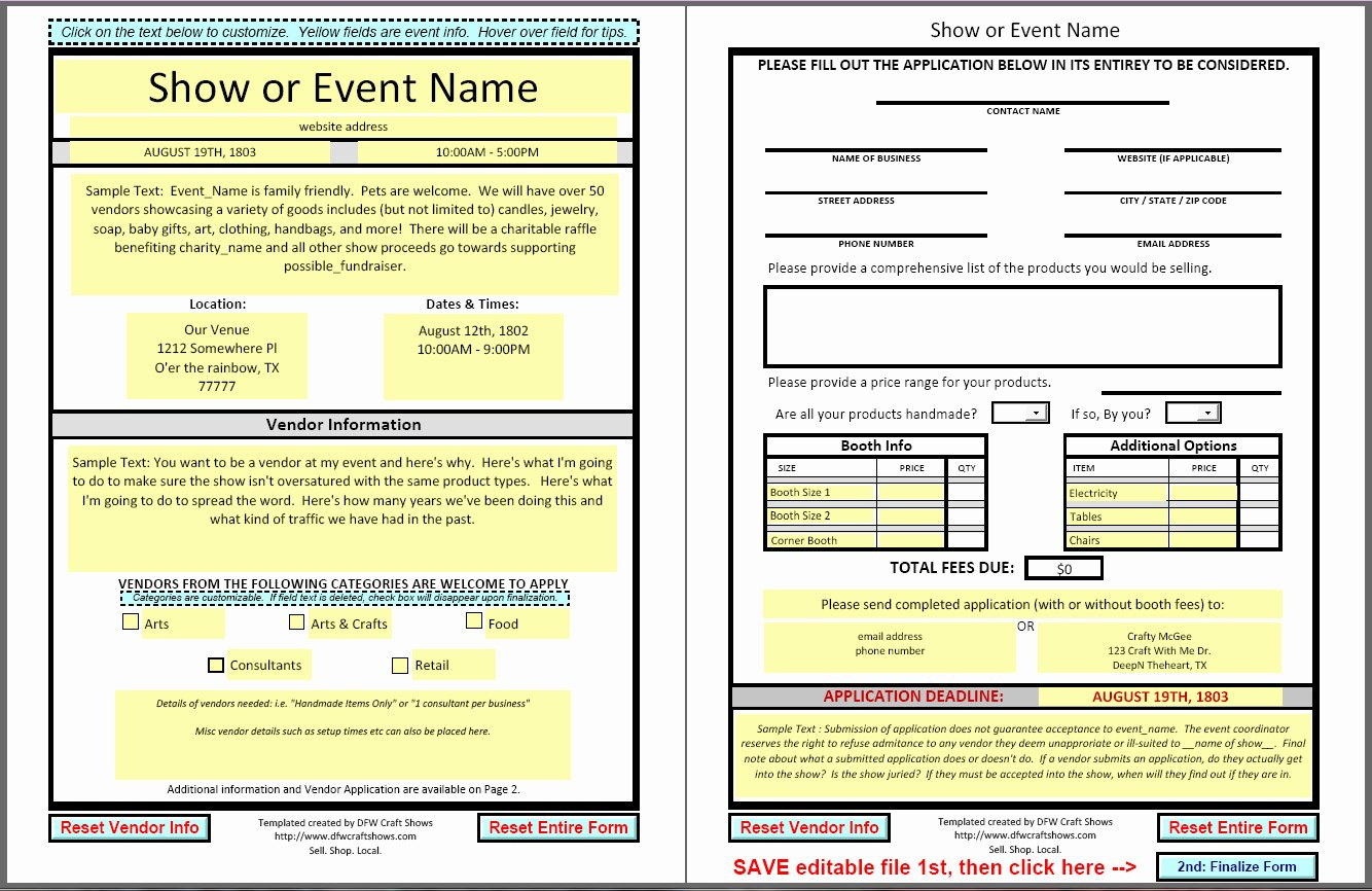 Free Vendor Application form Template Awesome Dfwcraftshows Vendor Applications Part Iii the Template