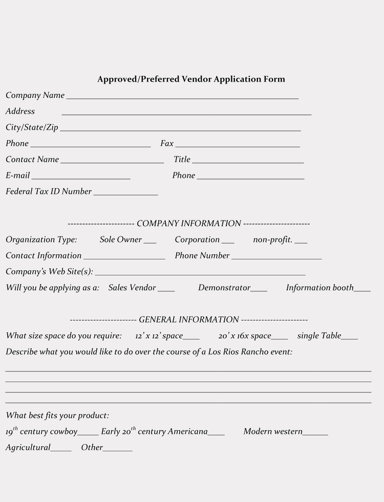 Free Vendor Application form Template Fresh 9 Printable Blank Vendor Registration form Templates for
