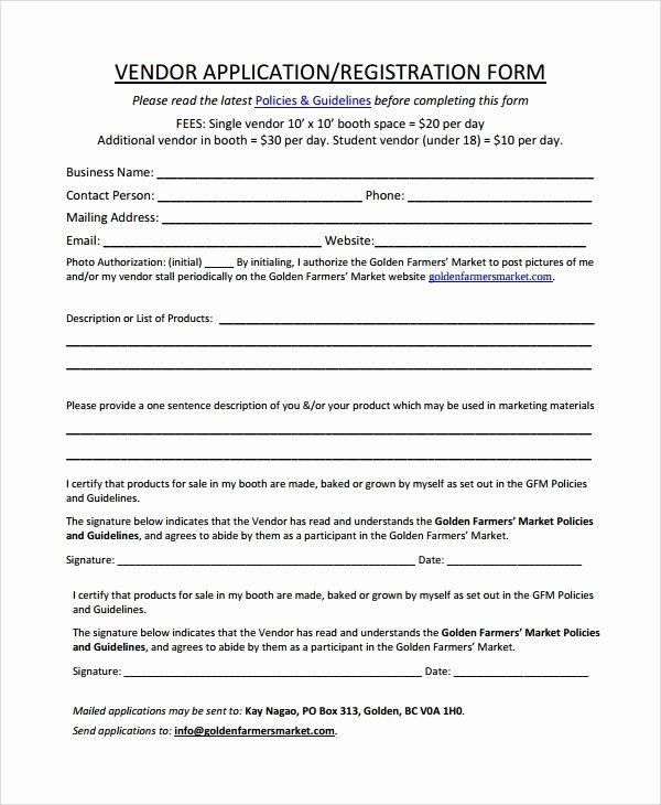 Free Vendor Application form Template Inspirational Sample Vendor Registration form 8 Documents In Word Pdf