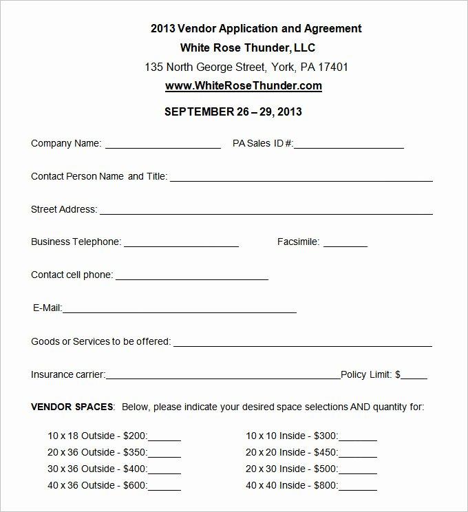 Free Vendor Application form Template Inspirational Vendor Application Template – 12 Free Word Pdf Documents