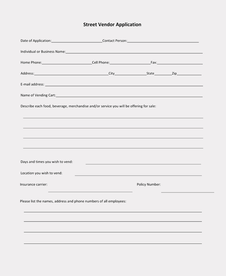 Free Vendor Application form Template Luxury 9 Printable Blank Vendor Registration form Templates for