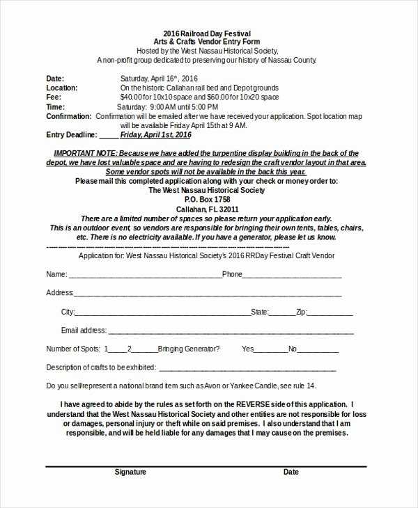 Free Vendor Application form Template Luxury Free 10 Sample Vendor event forms In Pdf