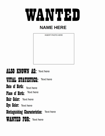 Free Wanted Poster Template Printable New Wanted Poster Template Free Download Create Edit Fill