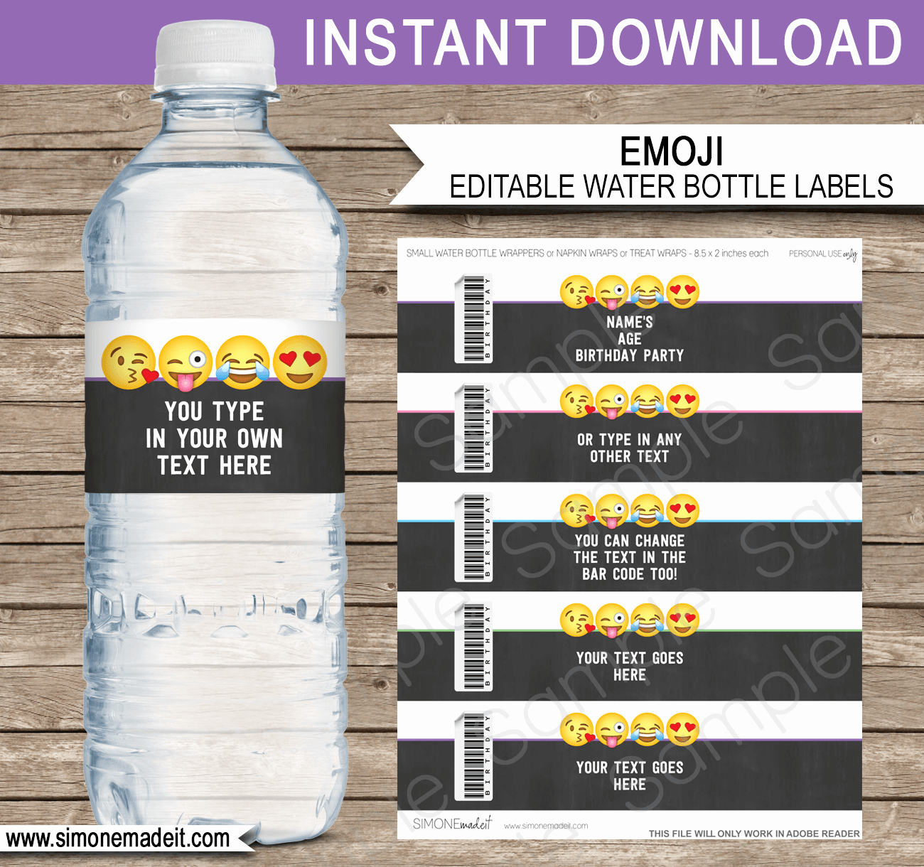 Free Water Bottle Label Template Awesome Emoji theme Birthday Party Printables