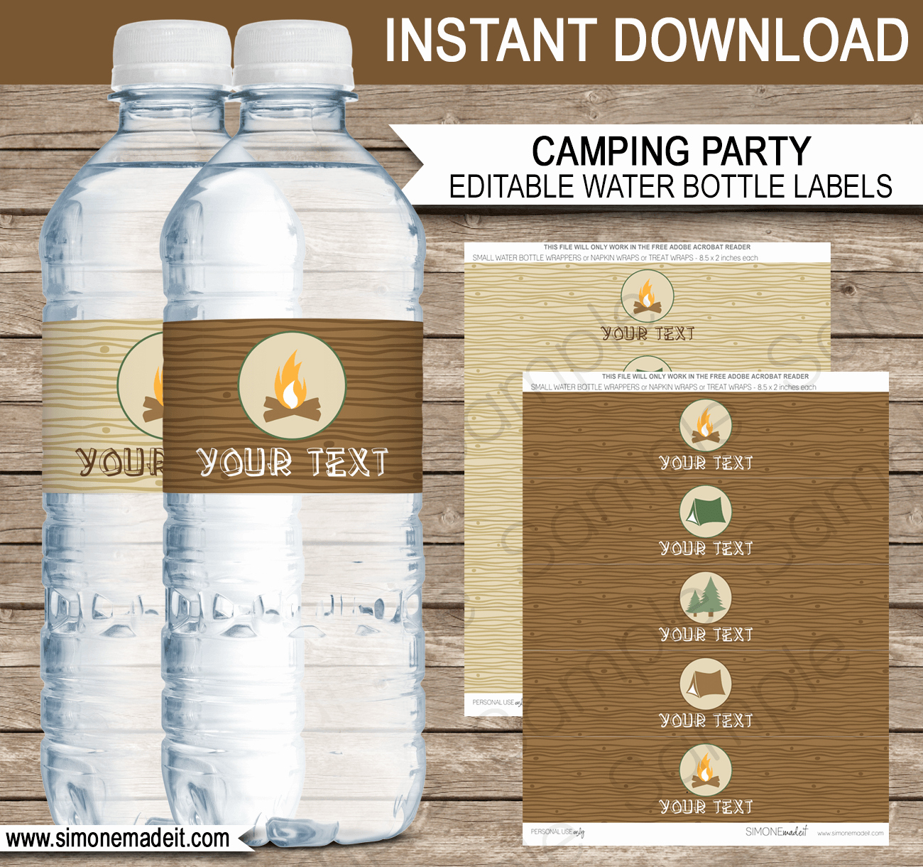 Free Water Bottle Label Template Beautiful Camping Party Water Bottle Labels