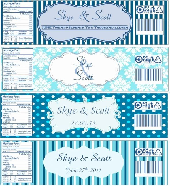 Free Water Bottle Label Template Lovely Water Bottle Labels now with Templates Wedding Blue