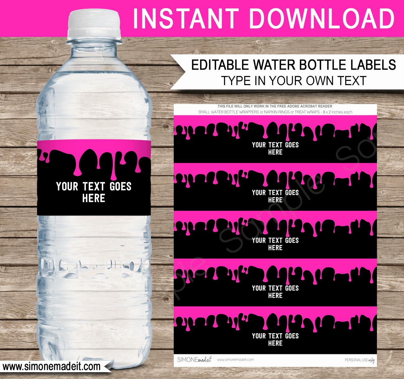 Free Water Bottle Label Template Unique Slime Water Bottle Labels