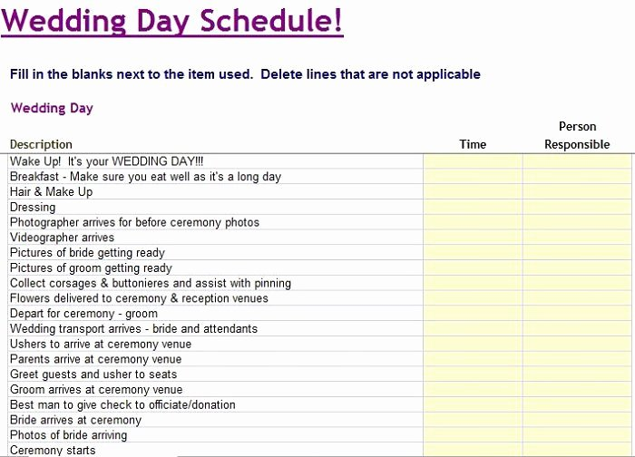 Free Wedding Itinerary Templates Awesome 35 Beautiful Wedding Guest List & Itinerary Templates