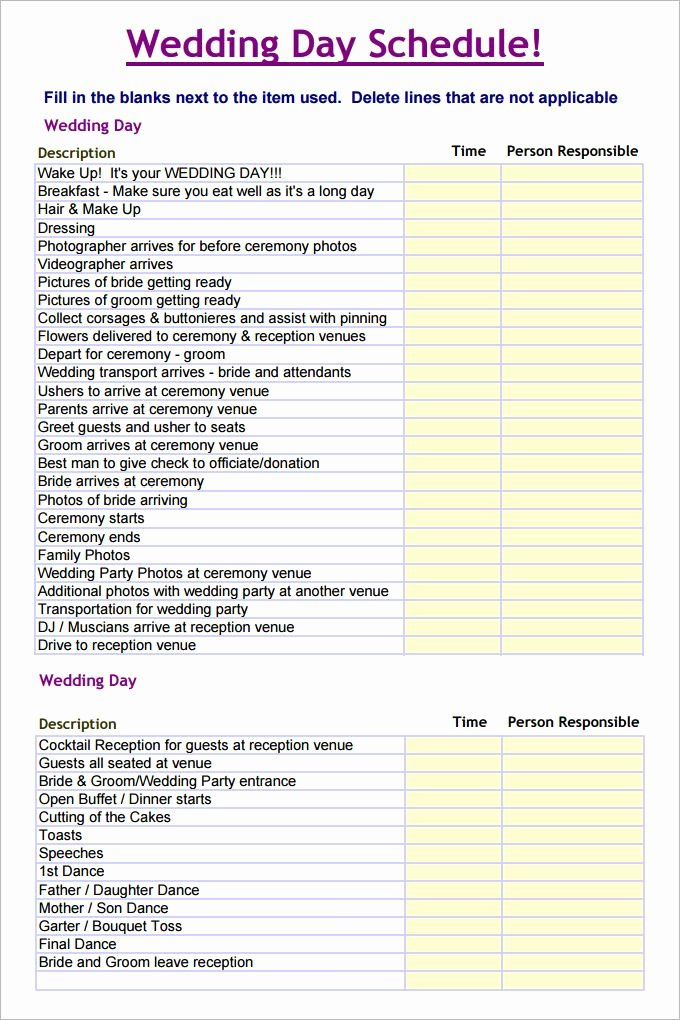 Free Wedding Itinerary Templates Beautiful Wedding Schedule Template – 25 Free Word Excel Pdf Psd