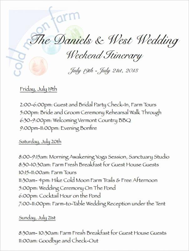 Free Wedding Itinerary Templates Beautiful Wedding Weekend Itinerary Template