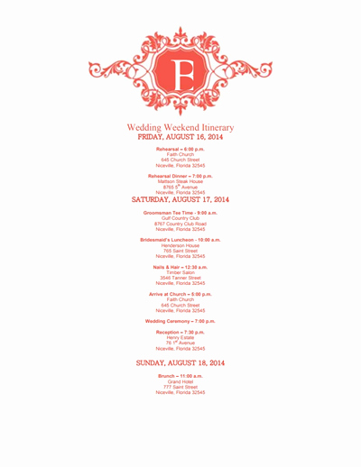 Free Wedding Itinerary Templates Best Of Wedding Itinerary Template Free Download Edit Create