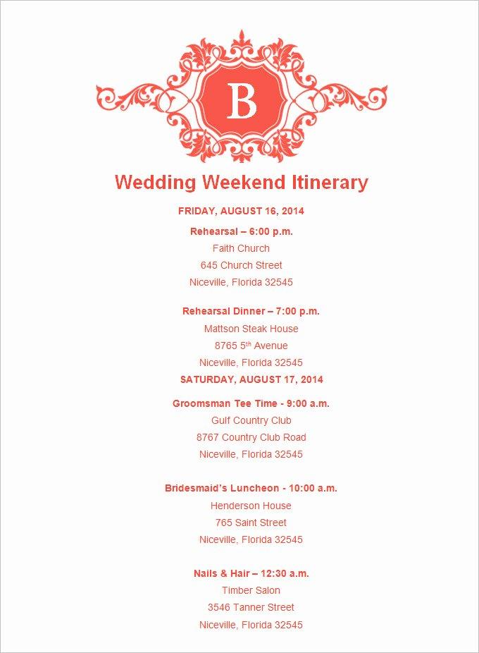 Free Wedding Itinerary Templates Elegant 4 Sample Wedding Weekend Itinerary Templates Doc Pdf