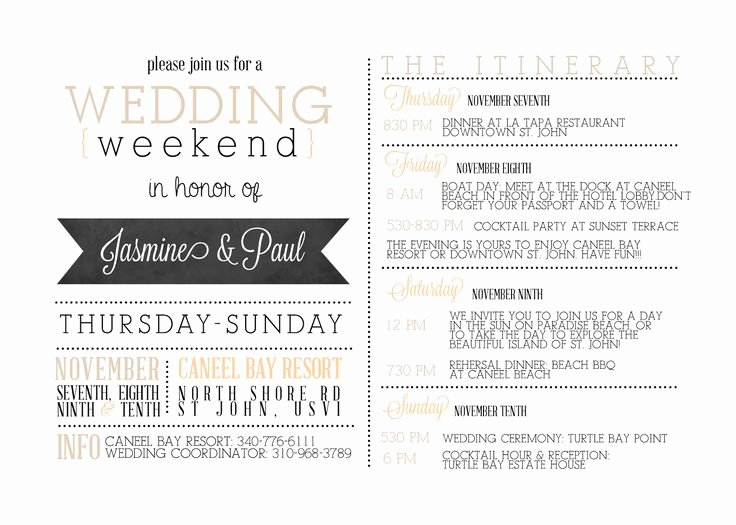 Free Wedding Itinerary Templates Inspirational Best 25 Wedding Weekend Itinerary Ideas On Pinterest