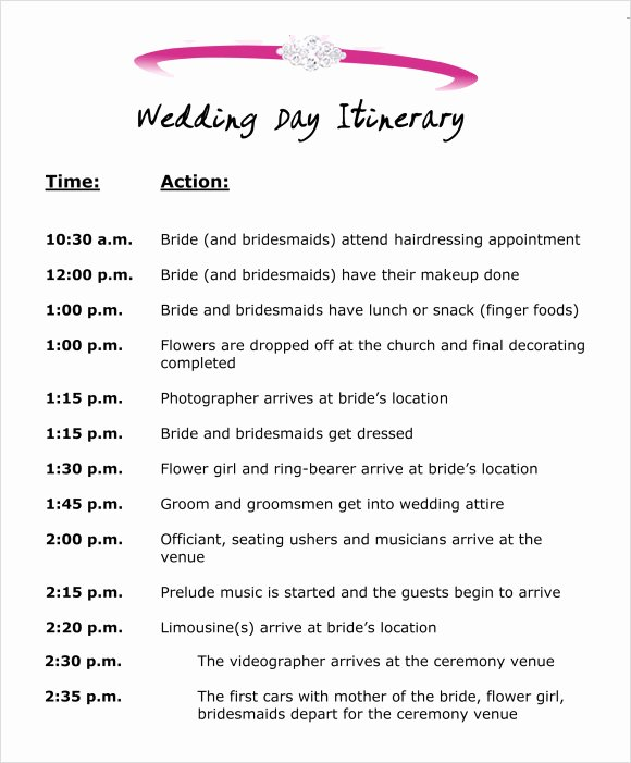 Free Wedding Itinerary Templates Inspirational Wedding Itinerary Template 8 Download Free Documents In