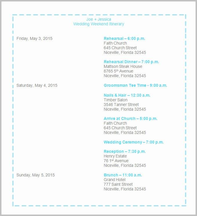 Free Wedding Itinerary Templates Luxury 44 Wedding Itinerary Templates Doc Pdf Psd
