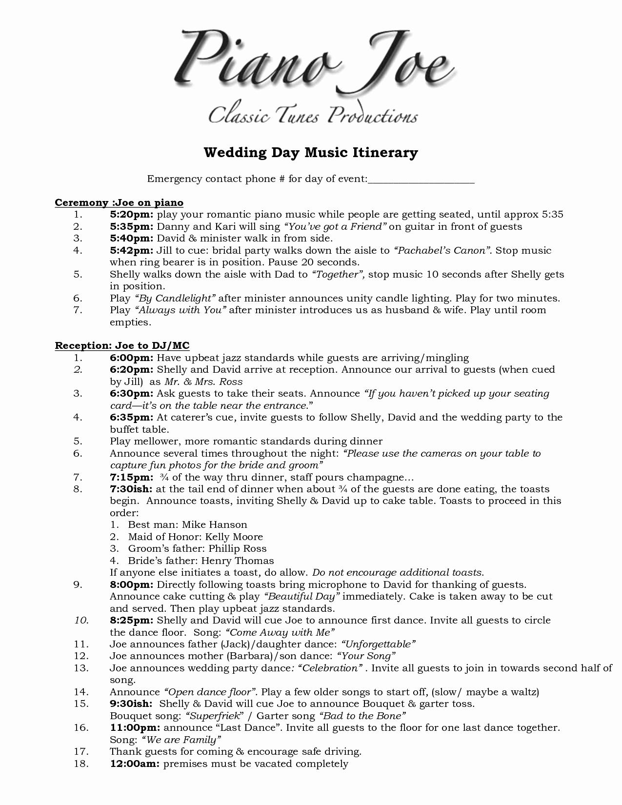 Free Wedding Itinerary Templates Luxury Wedding Itinerary Templates Free 1275px