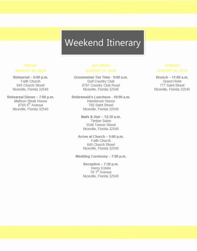 Free Wedding Itinerary Templates Luxury Yellow Stripe Wedding Itinerary Template Download