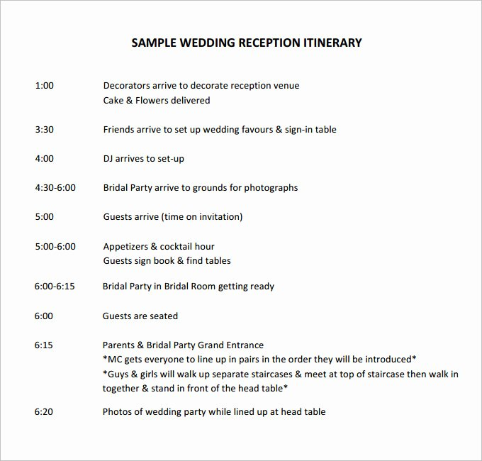 Free Wedding Itinerary Templates New Free Sample Wedding Programs Templates