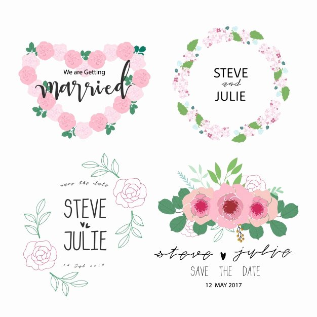 Free Wedding Label Templates Elegant Floral Wreath Wedding Label Collection Vector