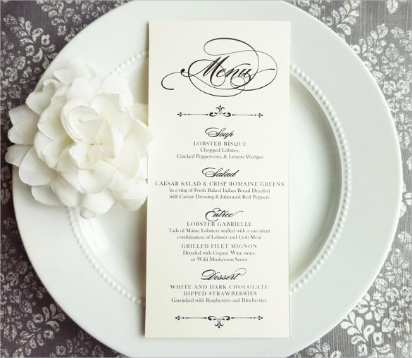 Free Wedding Menu Templates Awesome Free 30 Wedding Menu Templates In Pdf Psd