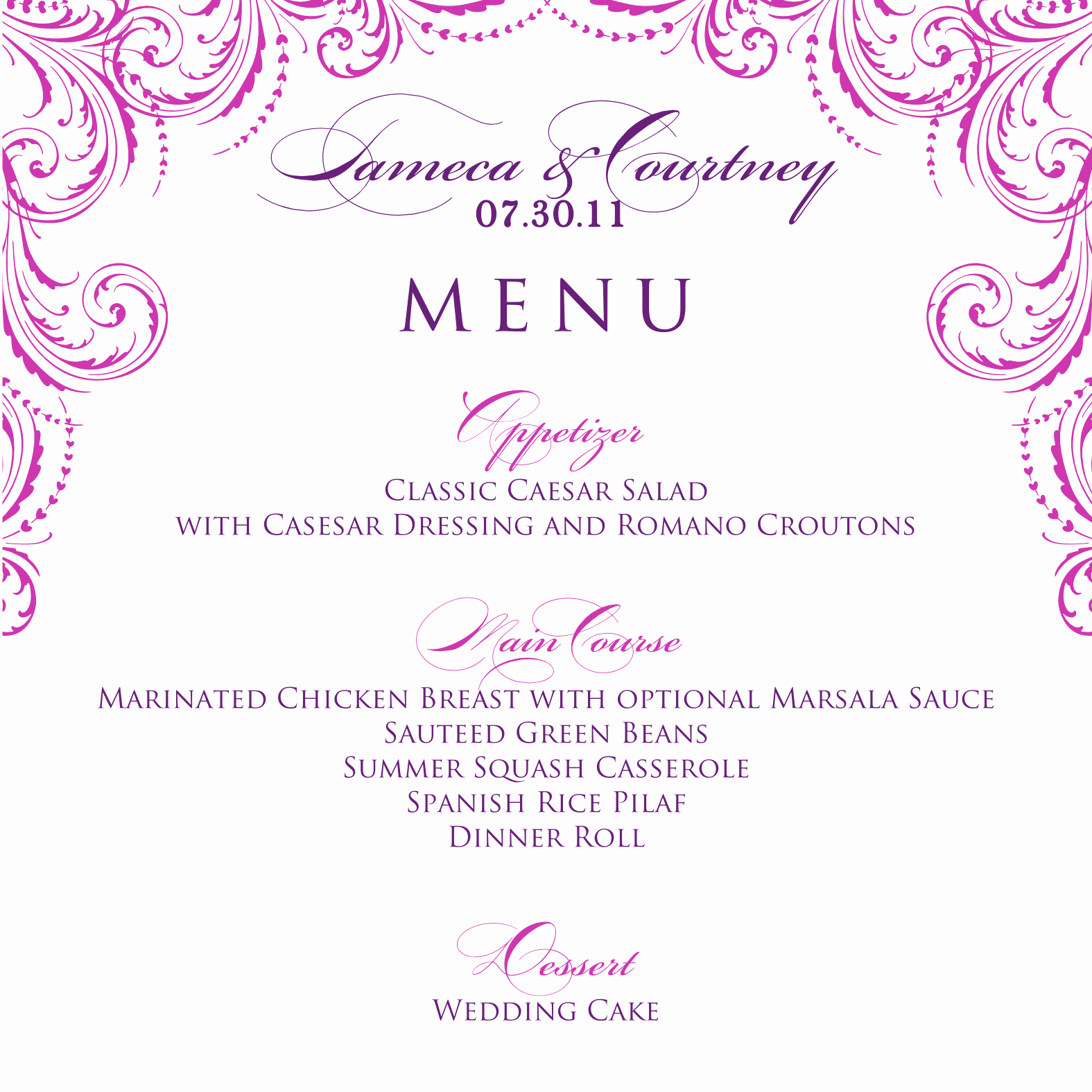 Free Wedding Menu Templates Awesome Signatures by Sarah Wedding Menu and Program for Tameca