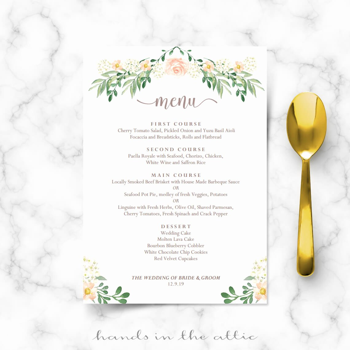 Free Wedding Menu Templates Awesome Wedding Dinner Menu Printable Templates