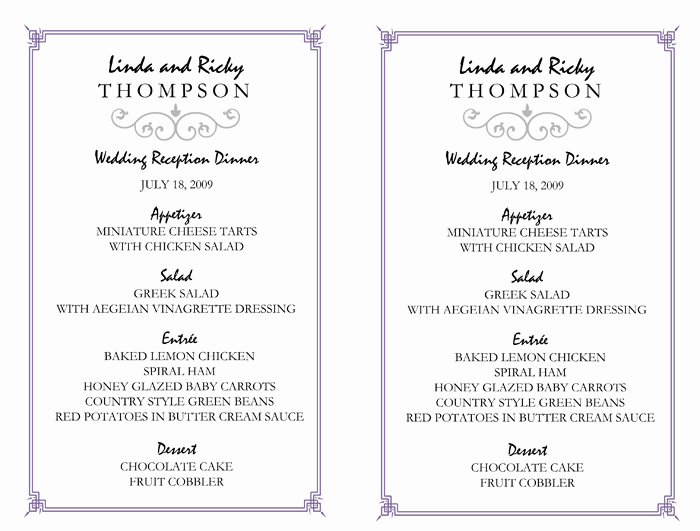 Free Wedding Menu Templates Awesome Wedding Menu Template – 5 Printable Designs