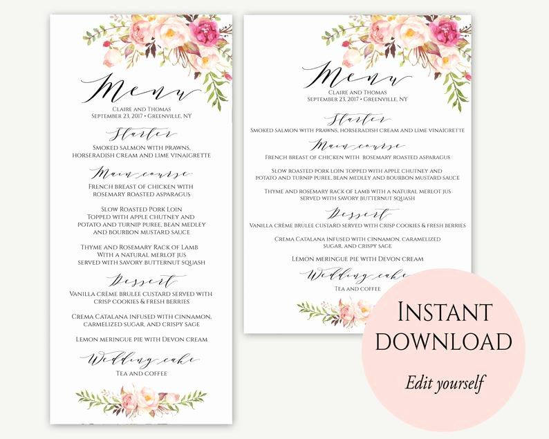Free Wedding Menu Templates Awesome Wedding Menu Template 5x7 4x9 Wedding Menu Cards Menu