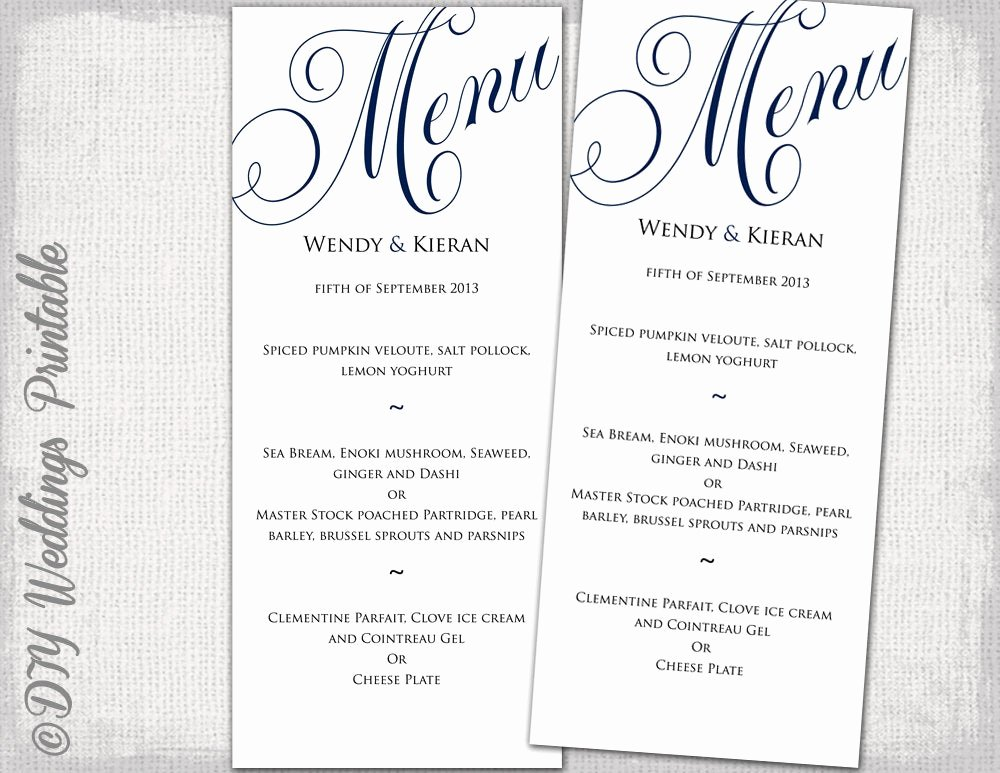 Free Wedding Menu Templates Awesome Wedding Menu Template Navy Blue Wedding Menu Diy Wedding Menu