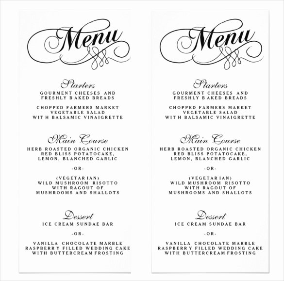 Free Wedding Menu Templates Beautiful 36 Wedding Menu Templates Ai Psd Google Docs Apple