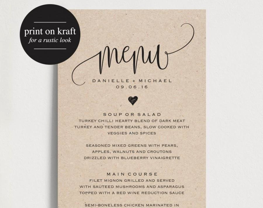 Free Wedding Menu Templates Beautiful Rustic Wedding Menu Wedding Menu Template Menu Cards